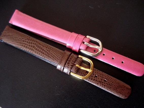 Lote 2 Pulseiras 13 E 14 Mm Classicas Rosa Pink E Marrom Lez