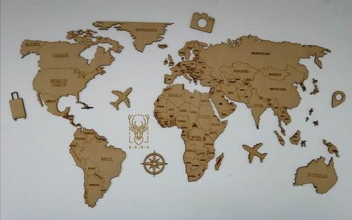 Imagen 1 de 7 de Mapa De Viajes Pared Decorativo Madera De 6mm   1.80 M X 1 M