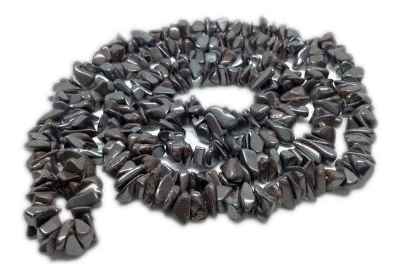 Colar De Cascalho De Pedra Hematita Natural