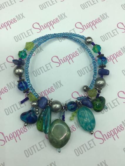 Gargantilla Blue Stones Dama Bisuteria Tonos Azul Y Verde