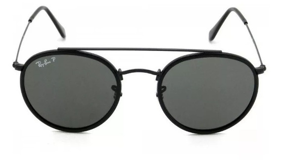 Oculos De Sol Ray Ban Round Double Bridge Preto Rb3647 Moda