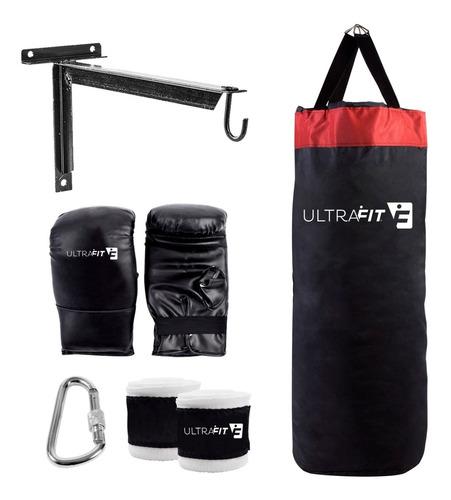 Bolsa Boxeo + Guantines Y Vendas Soporte + Mosqueton Box Kit