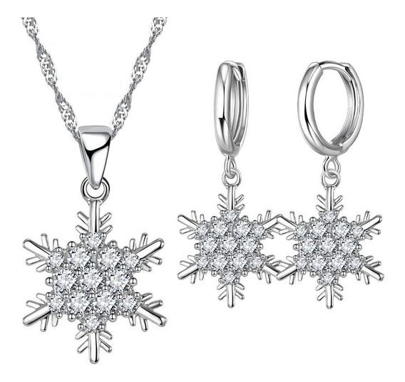 Set Collar Y Aretes Baño Plata 925, Copo De Nieve V Froz