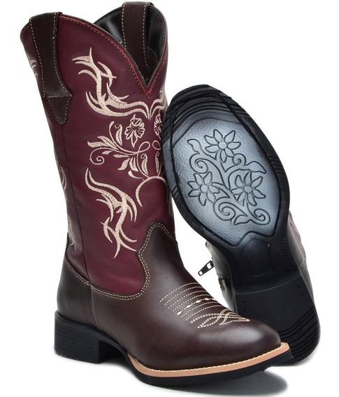 Bota Texana Feminina Couro Legitimo Bico Redondo Cano Alto!!