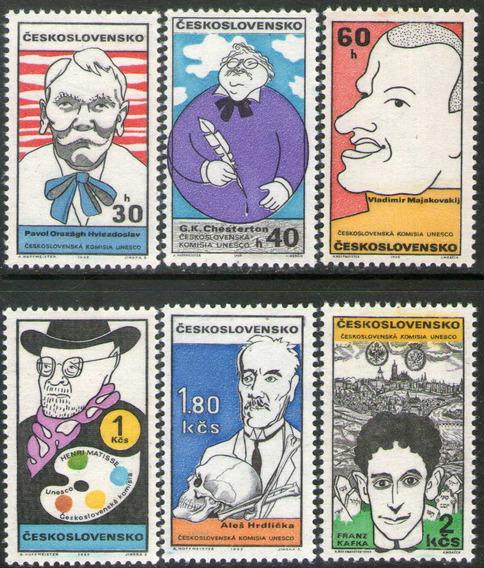 Checoslovaquia 6 Sellos Mint Caricaturas, Kafka Año 1969