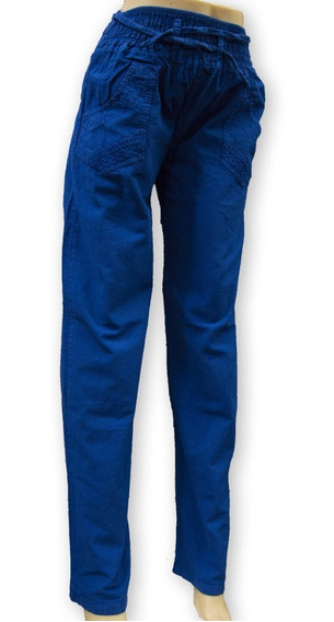 Pantalon Dama Lienzo 1/2 Elastico Talles Especiales! T. Alto