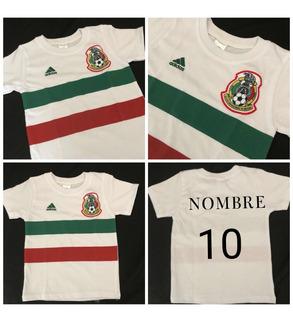 Playera Bebé Niño Mexico Selección Tallas 2,4 Y 6 Personaliz