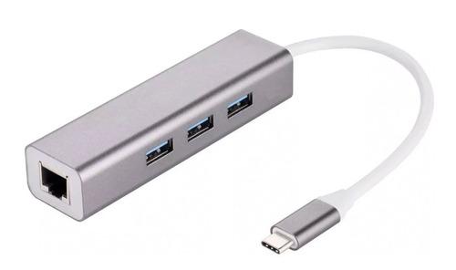 Usb C Hub A Usb 3.0 X3 + Red  Aluminio Macbook Pc Lan Rj45
