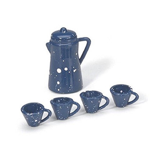 Miniatura - Cafetera Con Tazas - Azul - 7/8 Pulgadas - 1 Jue