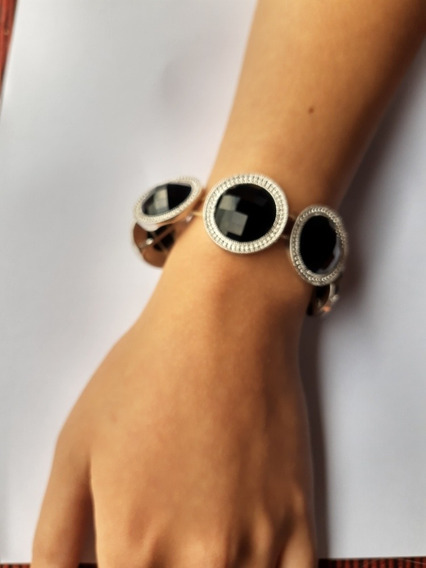 Bracelete Pulseira Pedras Negra Lapidadas Diamante