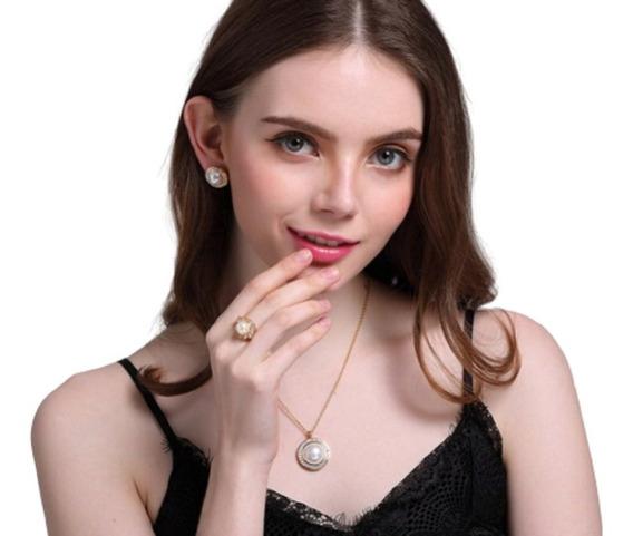 Set Collar Y Aretes Perla Y Oro Joyería De Acero Inoxidable