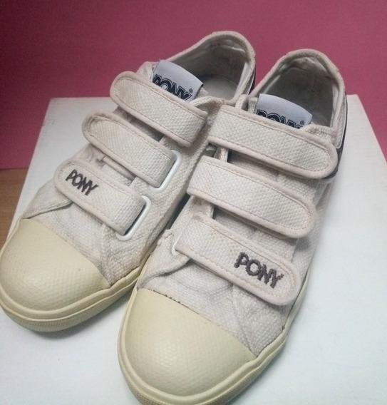 Zapatillas Con Abrojo Pony - Nº 39 - Beige - 100% Originales