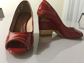 Sapato Peep Toe Terra Cota E Dourado Verniz 36