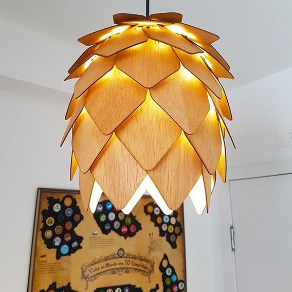 Lustre Em Madeira - Montagem Artesanal - Feito No Brasil