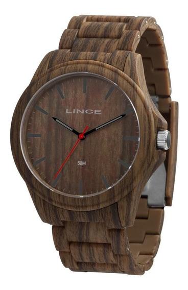 Relógio Masculino Lince Estilo Madeira 50m Ref.mrp4612p-n1nx