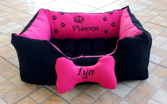 Caminha De Cachorro Personalizada Com Nome Pink Com Preto G