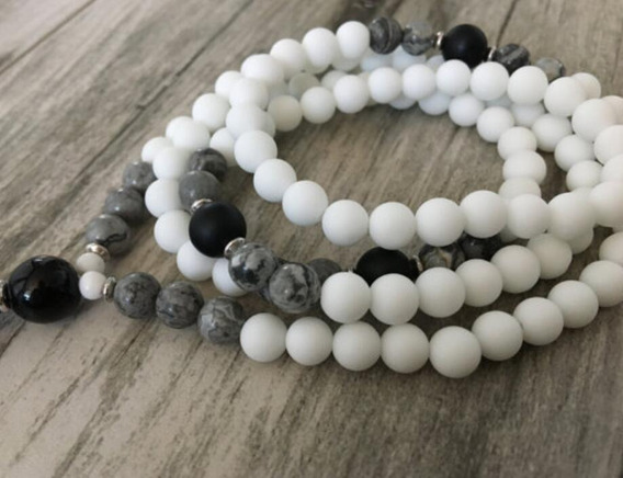 White Agate Black Onyx Natural Beads 8 Mm