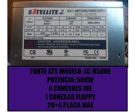 Fonte Satellite Atx De 500w 20 Pinos E 4 Pinos Placa Mae