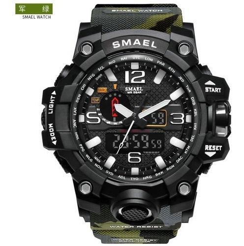 Reloj Smael Camuflado Verde Militar Cronometro Resistente