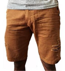 Bermuda Jeans Masculina Destroyed Rasgada Coloridas Promocao
