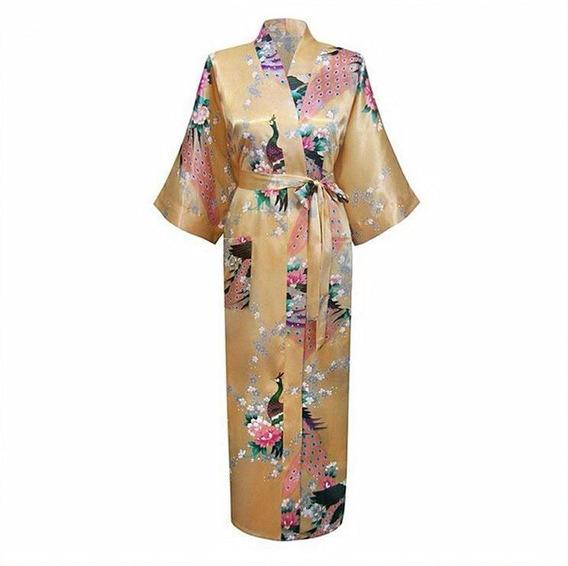 Kimonos Bata Mujer De Seda Oriental Flores Y Pavo Real