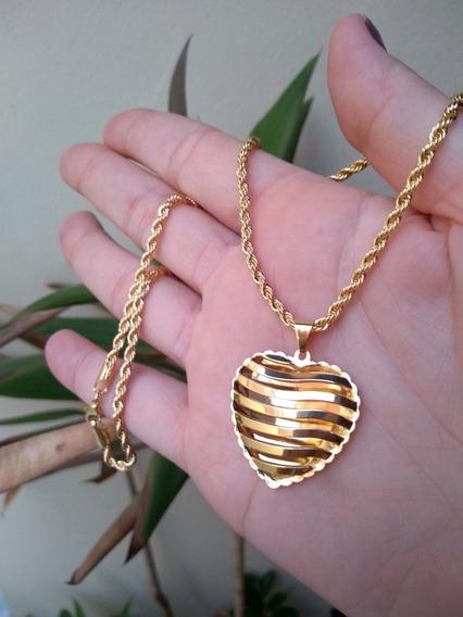 Colar Cordão Baiano Pingente Coração Vazado Banho De Ouro 18
