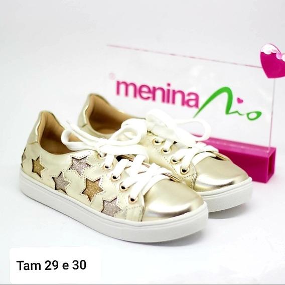 Tênis Dourado De Estrela Infantil Tam 29 E 30