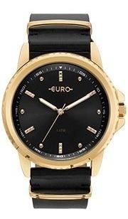 Relógio Euro Feminino Preto Pulseira Couro Eu2035ynn/4p