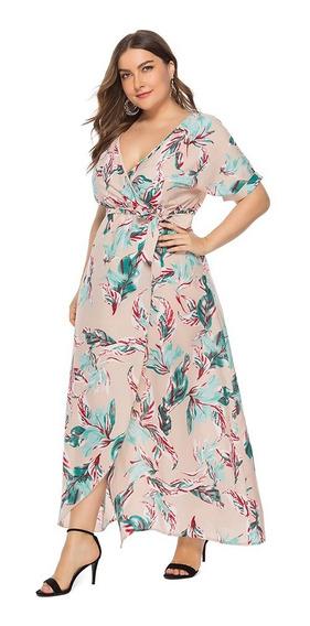 Vestido Largo Cruzado Con Estampado Floral De Talla Grande