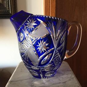 Antiga Jarra Refresqueira Cristal Francês Baccarat Azul
