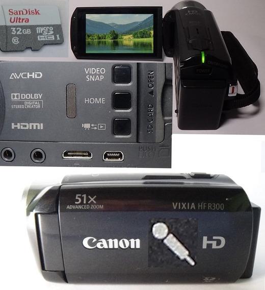 Filmadora Canon Vixia Hf-r300 Full Hd Entrada De Microfone