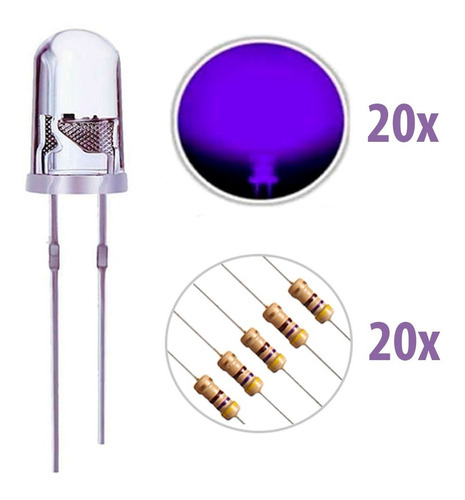 Imagem 1 de 6 de Kit Led Uv(ultra Violeta) 5mm + Resistores