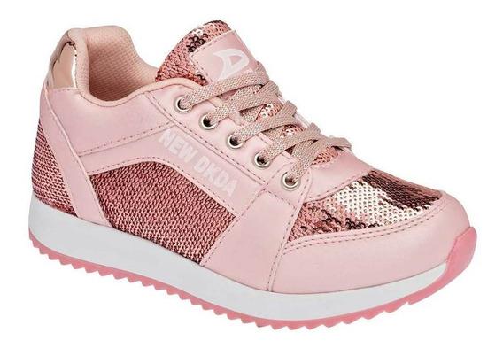 Tenis Dkda Niña 658 Color Oro Talla 15-17 -shoes