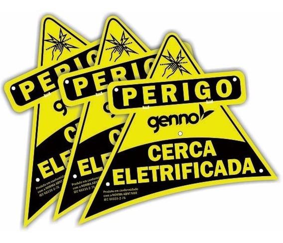 Kit C/ 10 Placas De Advertência Abs Genno P/ Cerca Elétrica