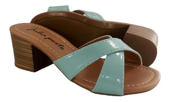Tamanco Feminino Sapato De Salto Alto Médio 5 Cm Verniz Jp