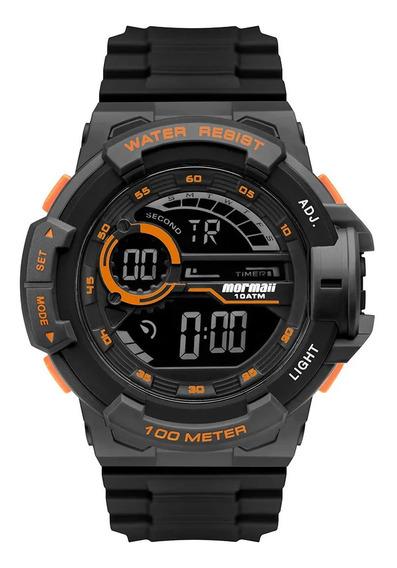 Relógio Masculino Mormaii Preto E Laranja Digital Negativo
