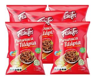 Snack Aperitivo Pururuca Tilápia 35g Kit 5 Pacotes Fishitos