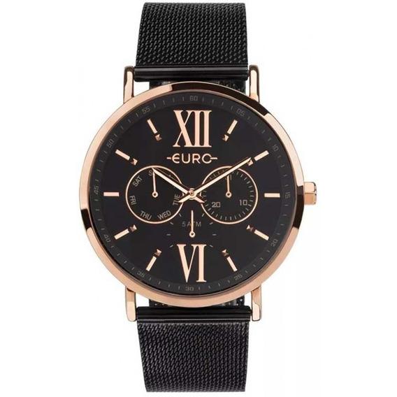 Relógio Euro Preto Com Rose Feminino Eu6p29ahg/5p Lançamento