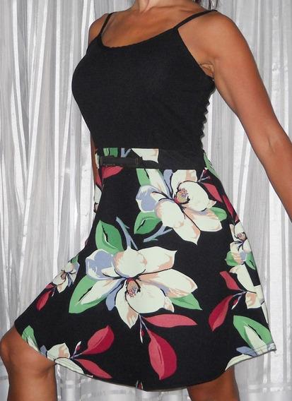 Vestido Negro Floreado Elegante Exclusivo Diseño!!