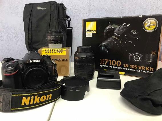 Câmera Nikon D7100 18-105 Vr Kit + 50mm F1.8d Af + Softbag