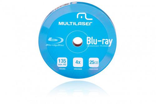 Dvd-r Blu-ray Da Multilaser 4x Shirink Print Branco Com 10