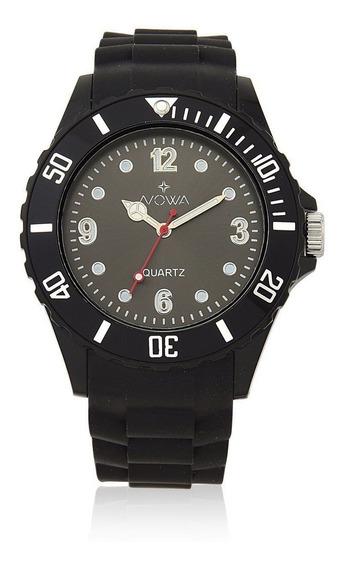 Relógio Masculino Nowa Borracha Nw0521pk Preto Original
