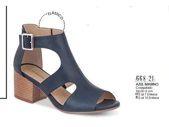 Zapato Dama Azul Marino Coagulado 668-21 Cklass Oi 2019