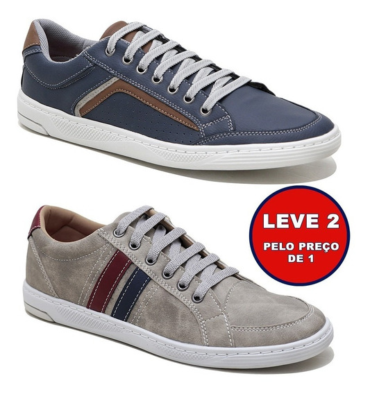 Kit 2 Sapatênis Doc Shoes Couro Sola De Borracha Promoção