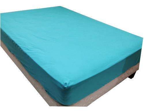 Protector De Colchon Antifluido Color Azul Doble 140x190
