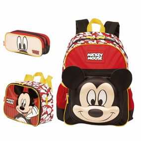 Kit Mochila Escolar Lancheira E Estojo Duplo Mickey Mouse