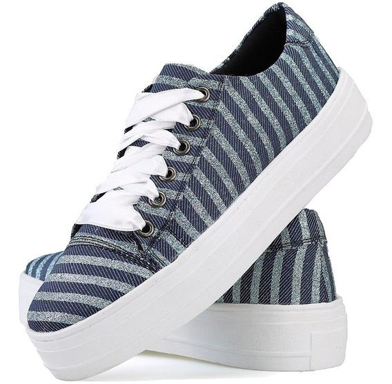 Tenis Feminino Solado Reto Plataforma Fita Cetim Jeans Azul