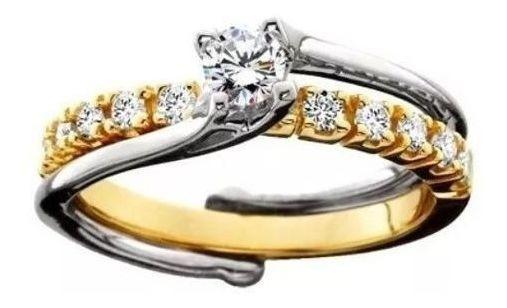 Anel Solitário Bicolor De Ouro 18k E Diamante De 15 Pontos