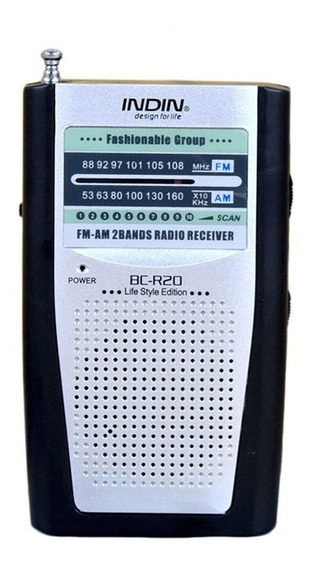 Rádio Receptor Indin Bc-r20 Am/fm Prata Frete Grátis