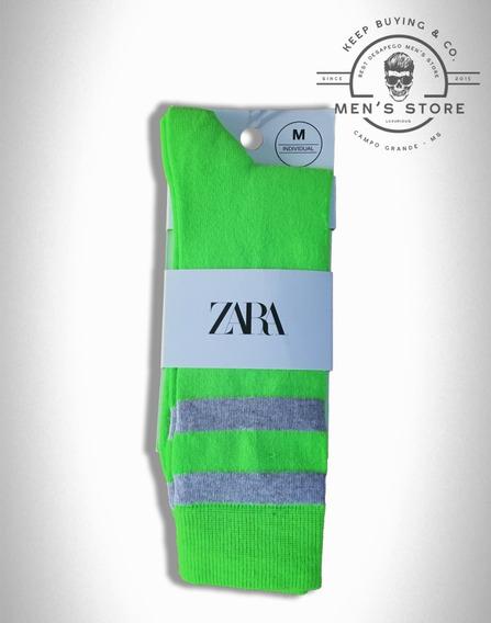 Meia Listras Cano Longo Verde Neon Zara